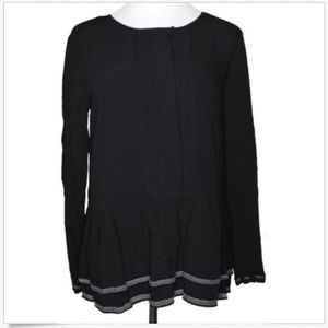 Ann Taylor LOFT Long Sleeve Pleated Peplum Blouse